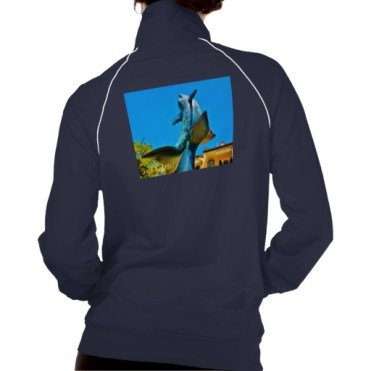 Soaring Dolphin Plaza, Women, American Apparel California Fleece Track Jacket, Back, Navy